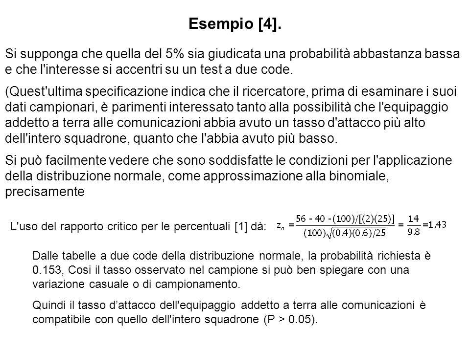 Esempio [4].Si supponga che quella del 5% sia giudicata una probabilità abbastanza bassa e che l interesse si accentri su un test a due code.